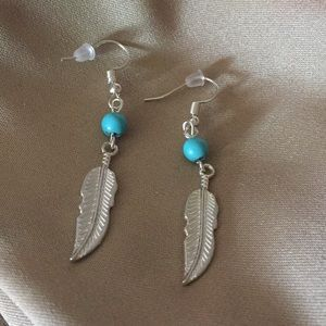 NWOT, Silver turquoise and feather earrings.